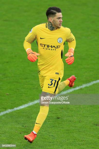 Man City goalkeeper Ederson in action during the Premier League match between Everton and Manchester City at Goodison Park on March 31 2018 in...
