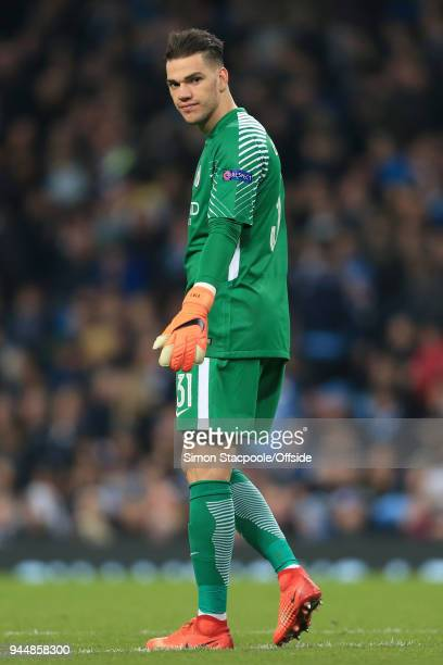Man City goalkeeper Ederson looks on during the UEFA Champions League Quarter Final Second Leg match between Manchester City and Liverpool at the...