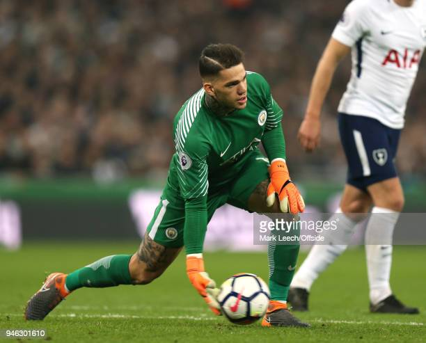 Man City goalkeeper Ederson Moraes during the Premier League match between Tottenham Hotspur and Manchester City at Wembley Stadium on April 14 2018...