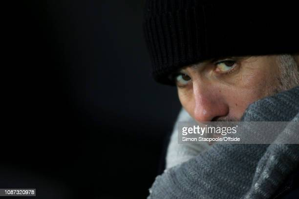 Man City manager Pep Guardiola looks on during the Carabao Cup Semi Final Second Leg match between Burton Albion and Manchester City at the Pirelli...