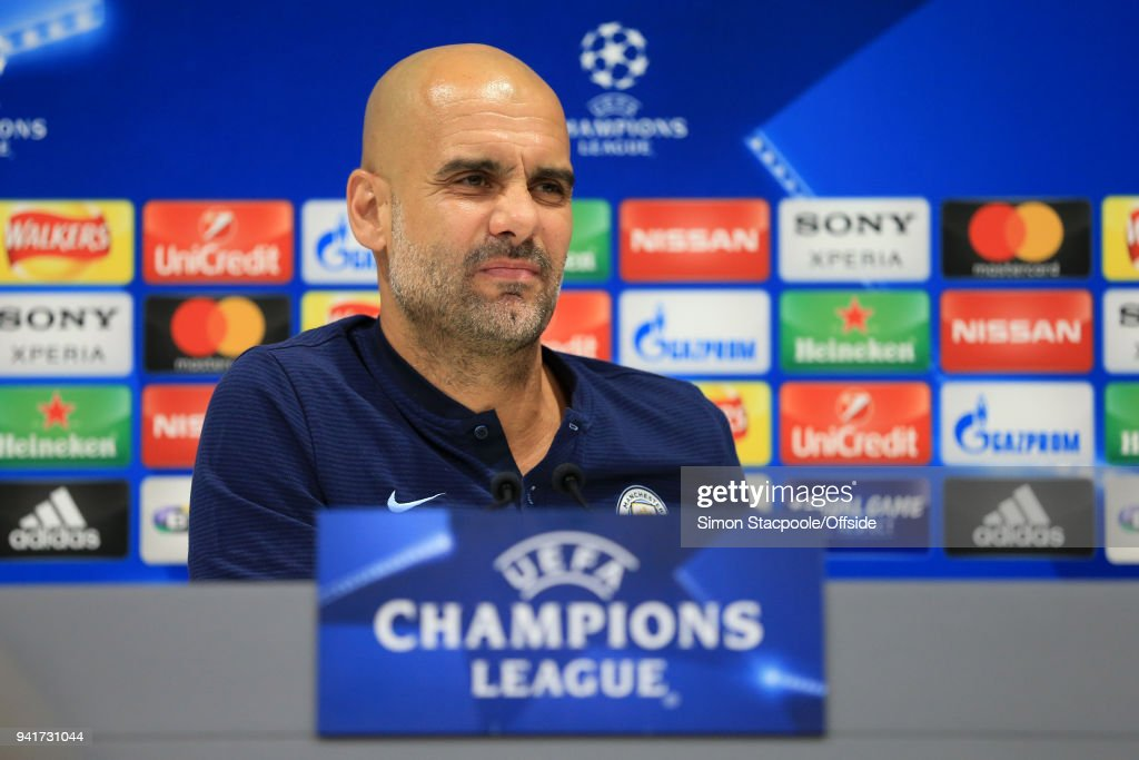 Man City manager Pep Guardiola speaks during a press conference prior to their UEFA Champions League Quarter Final First Leg match against Liverpool at Anfield on April 3, 2018 in Liverpool, England.