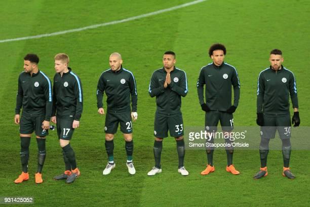 Man City players LR Kyle Walker Kevin De Bruyne David Silva Gabriel Jesus Leroy Sane and Nicolas Otamendi line up ahead of the Premier League match...