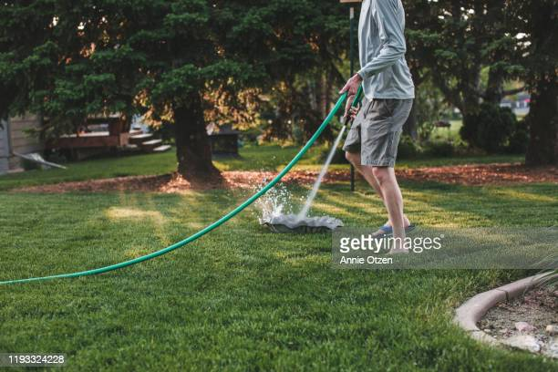man cleaning a bird bath - good condition stock pictures, royalty-free photos & images