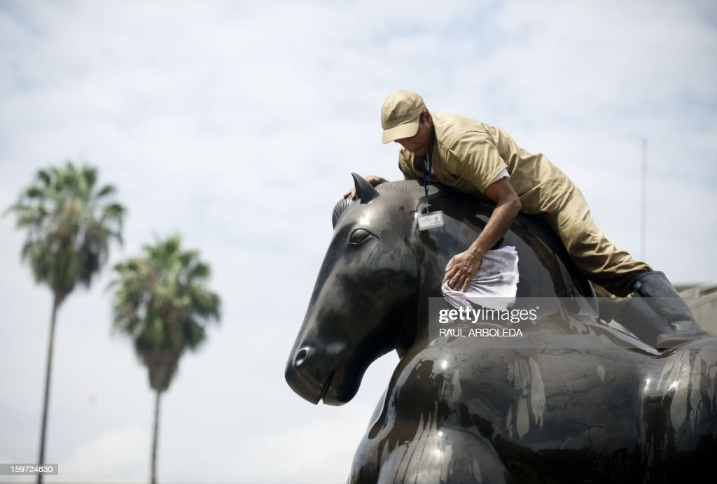 A man cleans the sculpture 'Caballo' by Colombian artist Fernando Botero, in Medellin, Antioquia Department, on January 19, 2013. Each year the Antioquia museum leads a cleanup day of the 23 sculptures displayed at Botero square. AFP PHOTO/Raul ARBOLEDA
