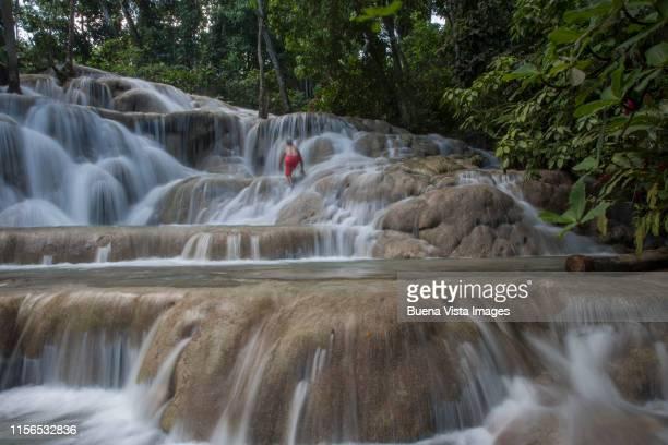 man climbing a waterfall - paisajes de jamaica fotografías e imágenes de stock