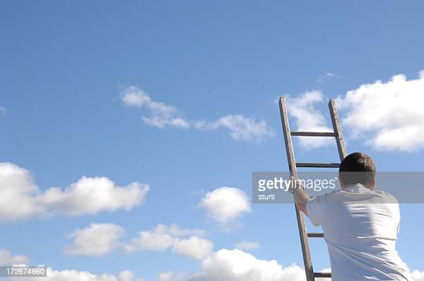 man climbing ladder of success