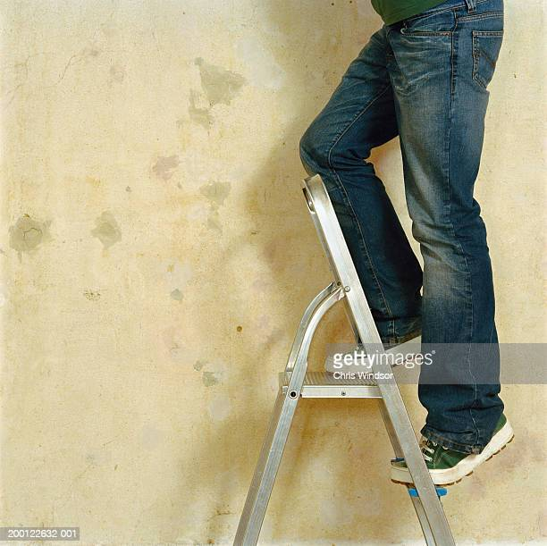Man climbing stepladder, side view, low section