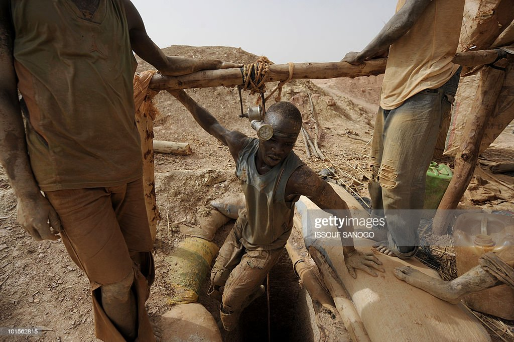 RETRAITE** A man comes out of a hole where he is digging for gold in Namisgma,the largest gold washing site in the country, some 200 kilometers from Ouagadougou, Northern Burkina Faso on May 9, 2010. Gold in Burkina was until recently largely mined by hand despite the arrival of large gold companies.