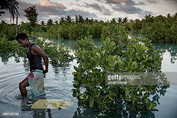 A man comes out of a mangrove swamp that has been submerged by flooded seawater The people of Kiribati are under pressure to relocate due to sea...
