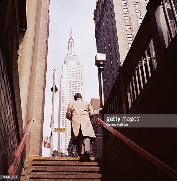 Man coming out of subway station in New York City