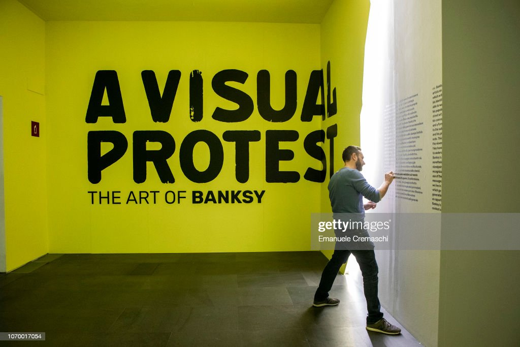 """The Art of BANKSY. A Visual Protest"" Exhibition Preview In Milan : News Photo"