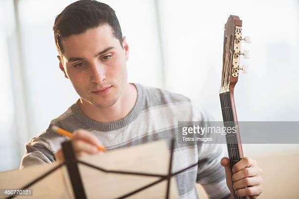 Man composing music