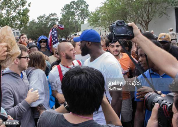 A man confronts a NeoNazi at the University of Florida in Gainesville Florida United States on October 19 2017