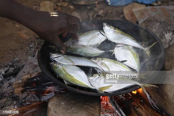 Man cooking fish Kafountine Senegal