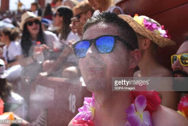 A man cools off with water as temperatures reached 36º degrees Celsius during the Viernes de Toros Celebration in Soria The first heat wave of summer...
