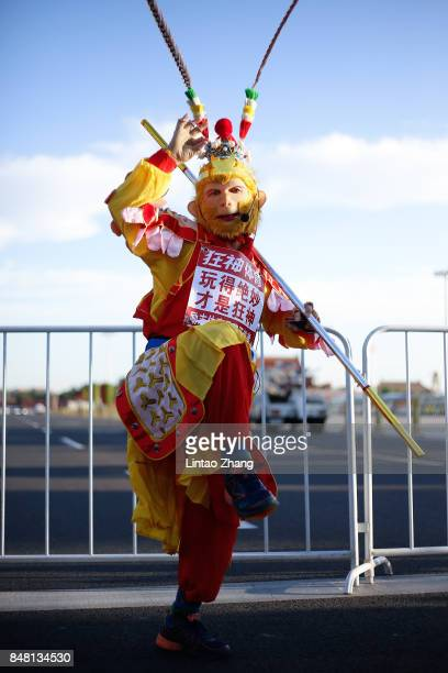 A man cosplays as the famous Monkey King before during the 2017 Beijing Marathon at Tiananmen Square on September 17 2017 in Beijing China
