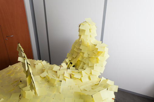 man covered by Post It - gettyimageskorea