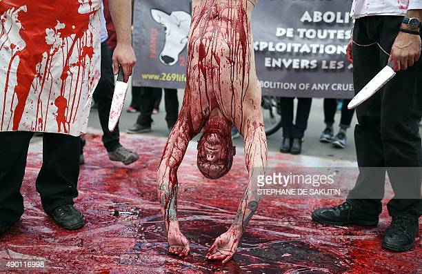 A man covered in red paint to represent blood hangs by his feet as activists of the animal liberation movement 269life stage an open air...