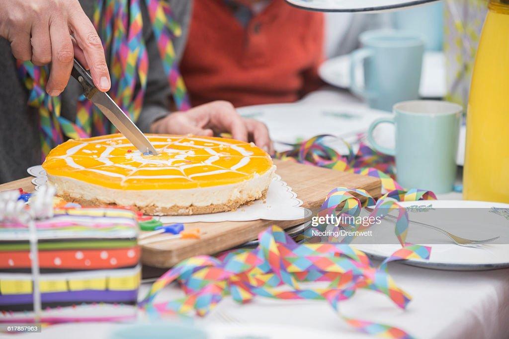 Man Cutting Birthday Cake Bavaria Germany Stock Photo Getty Images