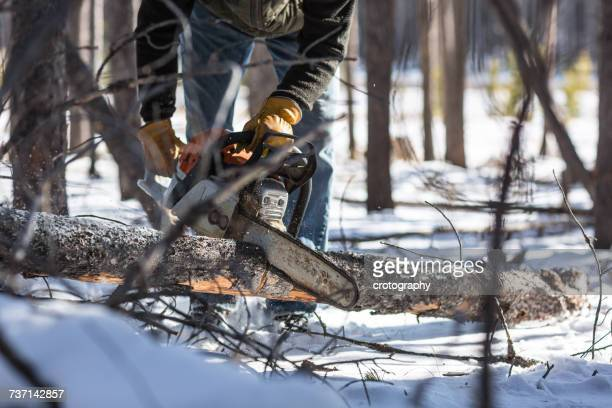 Man cutting firewood with chainsaw in winter