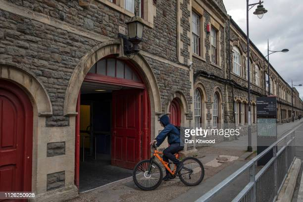 A man cycles through a tunnel that used to take workers of the GWR under the rail tracks on February 20 2019 in Swindon England The car manufacturer...