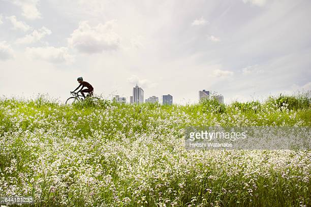 Man cycling on the bank