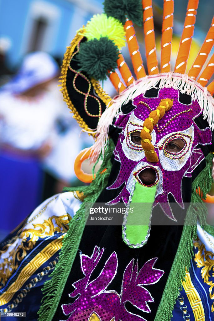 "A man dancer in a colorful costume performs Aya Uma, the creature from the Indian myths, during the Inti Raymi celebration in the village on 26 June 2010 in Olmedo, Ecuador. Inti Raymi, ""Festival of the Sun"" in Quechua language, is an ancient spiritual ceremony held in the Indian regions of the Andes, mainly in Ecuador and Peru. The lively celebration, set by the winter solstice, goes on for various days. The highland Indians, wearing beautiful costumes, dance, drink and sing with no rest. Colorful processions in honor of the God Inti (Sun) pass through the mountain villages giving thanks for the harvest and expressing their deep relation to the Mother Earth (Pachamama)."