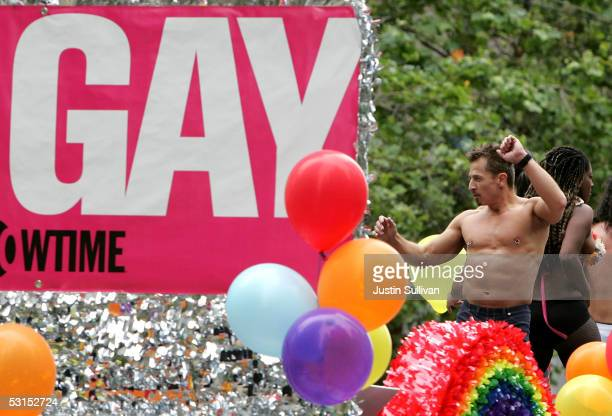 Man dances on a float during the 2005 San Francisco Pride Parade June 26, 2005 in San Francisco, California. Tens of thousands lined the streets of...