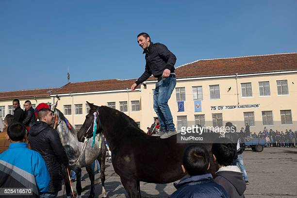 A man dances on top of his horse as Bulgarian Roma celebrate Horse Easter in the Fakulteta neighborhood of Sofia on February 28 2015 Every year on St...
