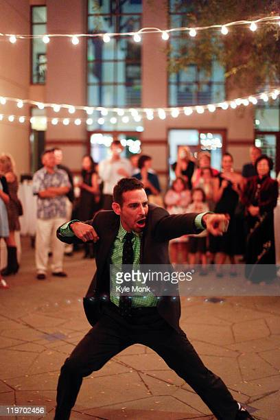 Man dancing at wedding reception