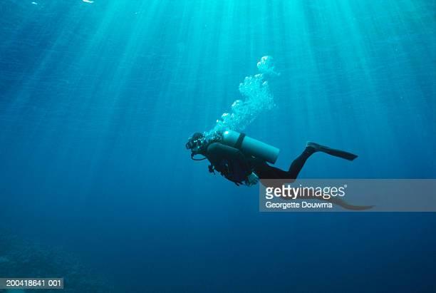 Man deep sea diving, side view, underwater view