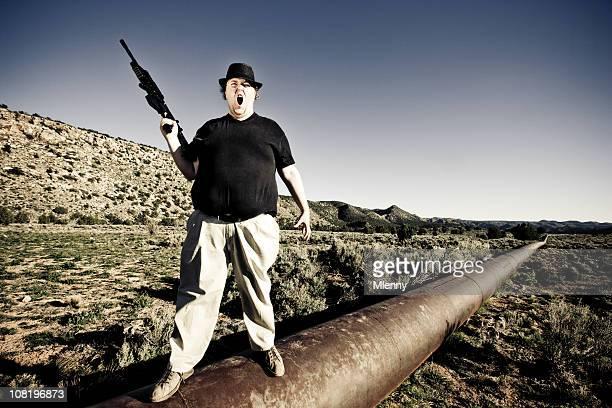 Man defending his Oil Pipeline.