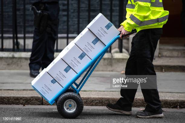 A man delivers bottles of British produced Nyetimber Brut Reserve champagnestyle sparkling wine with just over eight days until the UK leaves the...