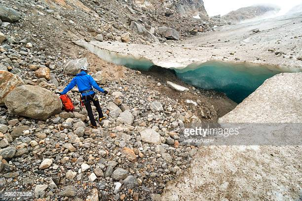 Man discovers an ice cave on glacier