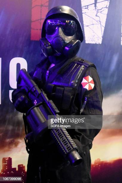 L´HOSPITALET BARCELONA SPAIN A man disguised as a character in the video game Resident Evil 2 seen during the Barcelona Games World Fair