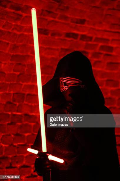 A man disguised as character from Star Wars movie seen during the STAR WARS Day on May 01 2017 at Nowy Fort in Warsaw Poland The event for famous...