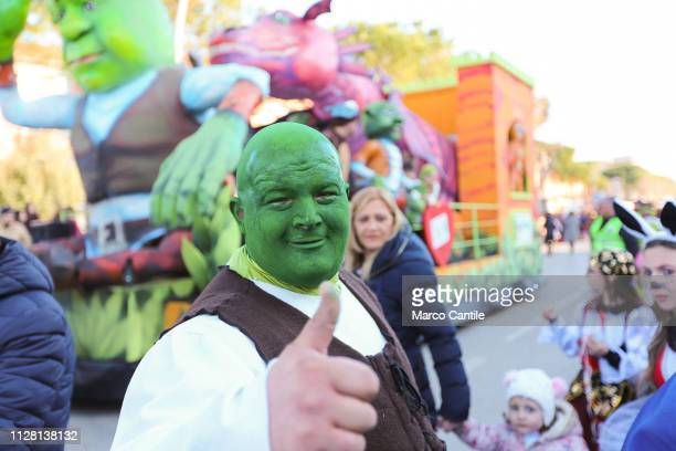 A man disguised as Shrek during the carnival parade in the ancient city of Capua