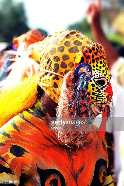 Man disguised like a tiger during Onam