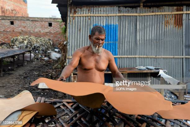 Man displays a tanned animal hide at a tannery in Hazaribagh, Dhaka. Most people in this area have become victims of pollution due to the presence of...