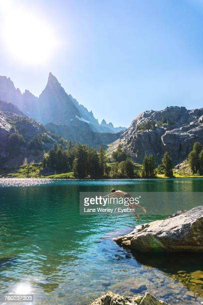 man diving into mammoth lakes against sky during sunny day - images of mammoth stock pictures, royalty-free photos & images