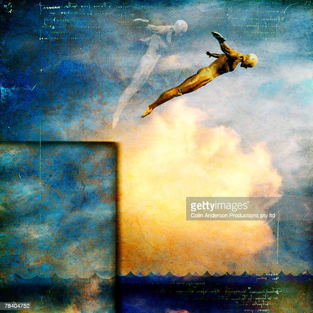 man diving into water - leap of faith stock photos and pictures