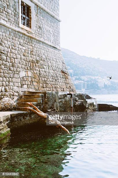 Man diving near the Dubrovnik old town