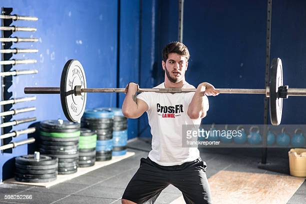 man doing a strong training gym weightlifting