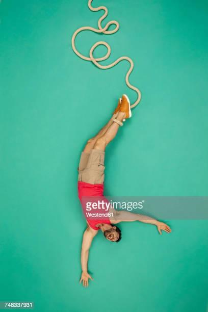 Man doing bungee jump