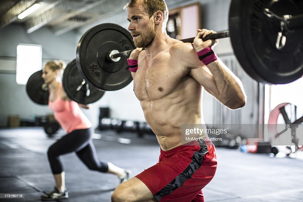 man doing Gym lunges : Stock Photo