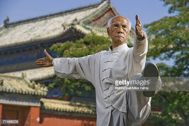 Man doing Kung Fu outdoors with pagoda in background