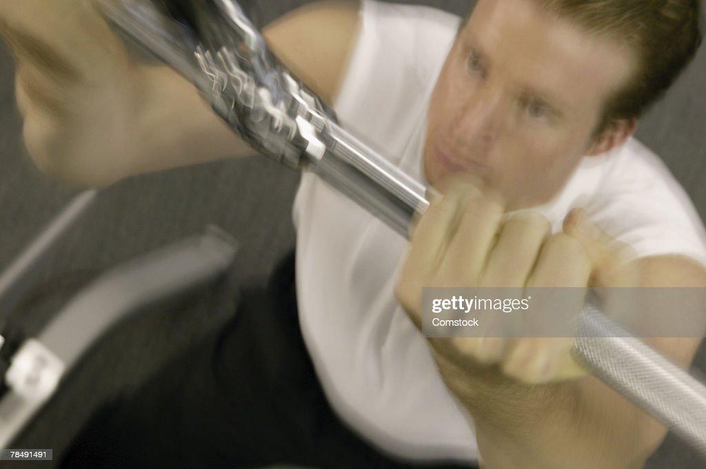 Man doing pull-ups : Stock Photo