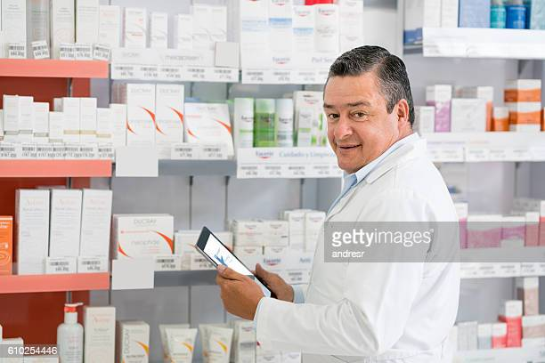 Man doing the inventory at a pharmacy