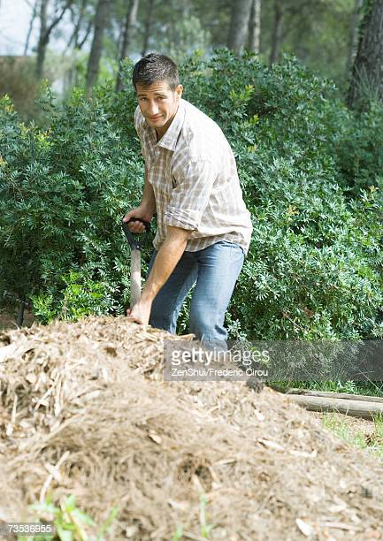 Man doing yard work