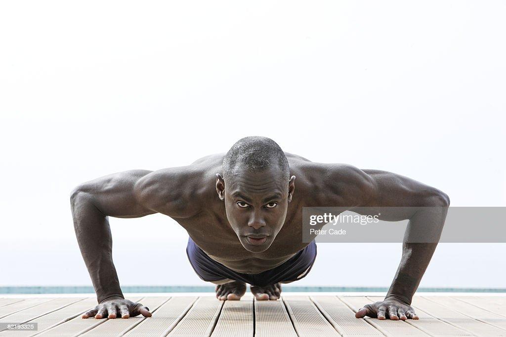 Man donig exercise : Stock Photo